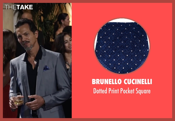 Brunello Cucinelli blue square from Ride Along 2 seen with Benjamin Bratt (Pope)