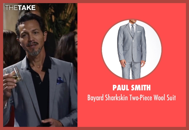 Paul Smith gray suit from Ride Along 2 seen with Benjamin Bratt (Pope)
