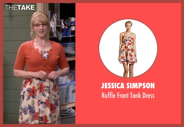 Jessica Simpson beige dress from The Big Bang Theory seen with Bernadette Rostenkowski (Melissa Rauch)
