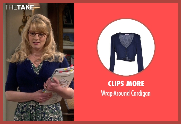 Clips More blue cardigan from The Big Bang Theory seen with Bernadette Rostenkowski (Melissa Rauch)