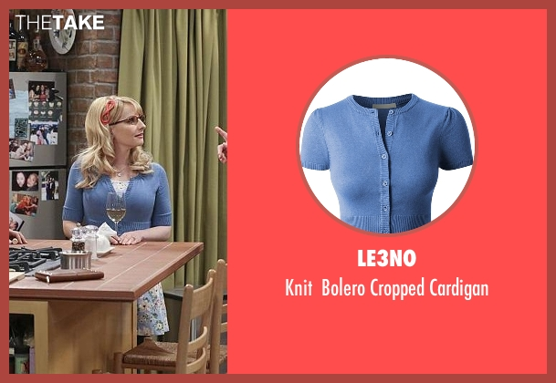 LE3NO blue cardigan from The Big Bang Theory seen with Bernadette Rostenkowski (Melissa Rauch)