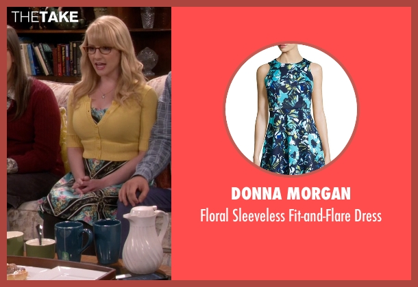 Donna Morgan blue dress from The Big Bang Theory seen with Bernadette Rostenkowski (Melissa Rauch)