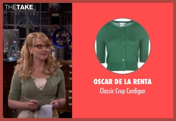 Oscar de la Renta green cardigan from The Big Bang Theory seen with Bernadette Rostenkowski (Melissa Rauch)