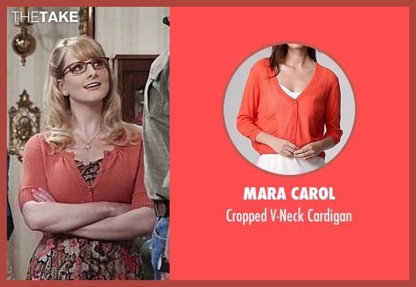 Mara Carol orange cardigan from The Big Bang Theory seen with Bernadette Rostenkowski (Melissa Rauch)