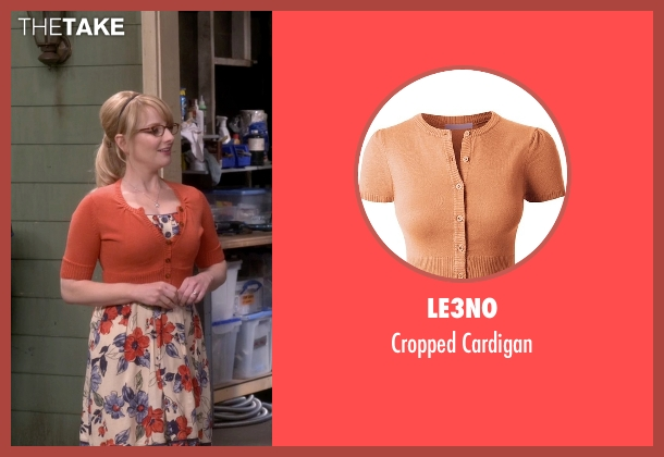 Le3no orange cardigan from The Big Bang Theory seen with Bernadette Rostenkowski (Melissa Rauch)