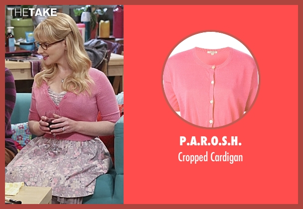 P.A.R.O.S.H. pink cardigan from The Big Bang Theory seen with Bernadette Rostenkowski (Melissa Rauch)