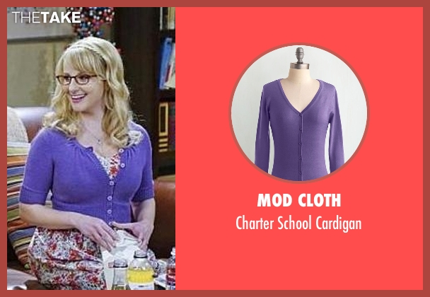 Mod Cloth purple cardigan from The Big Bang Theory seen with Bernadette Rostenkowski (Melissa Rauch)