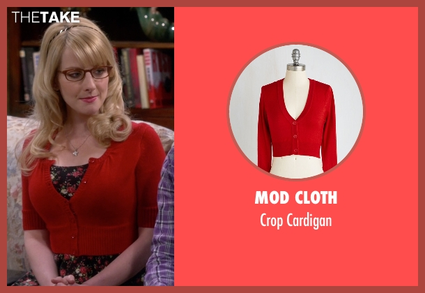 Mod Cloth red cardigan from The Big Bang Theory seen with Bernadette Rostenkowski (Melissa Rauch)