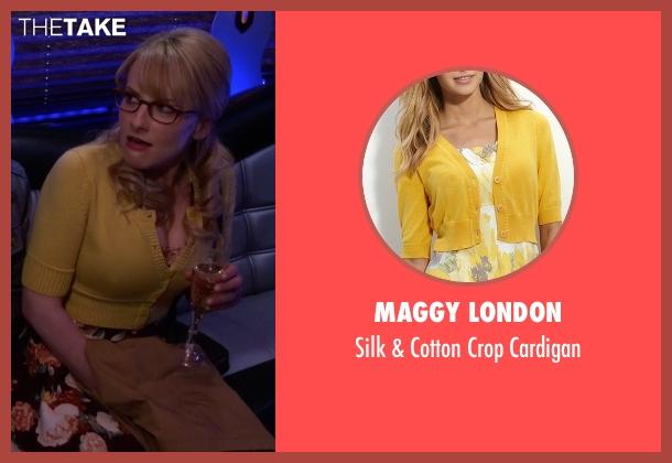 Maggy London yellow cardigan from The Big Bang Theory seen with Bernadette Rostenkowski (Melissa Rauch)
