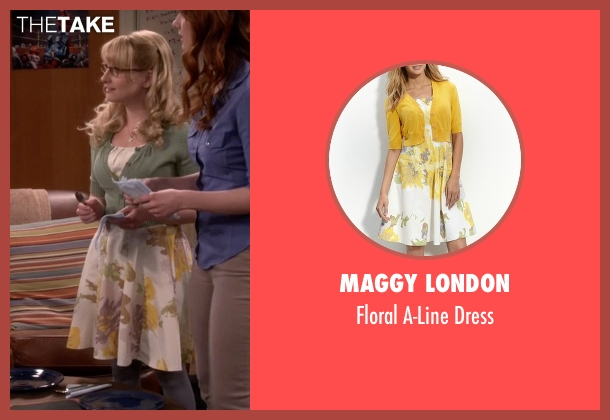 Maggy London yellow dress from The Big Bang Theory seen with Bernadette Rostenkowski (Melissa Rauch)