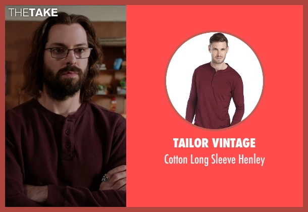 Tailor Vintage  red henley from Silicon Valley seen with Bertram Gilfoyle (Martin Starr)