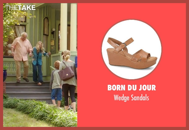 Born Du Jour brown sandals from Vacation seen with Beverly D'Angelo (Ellen Griswold)