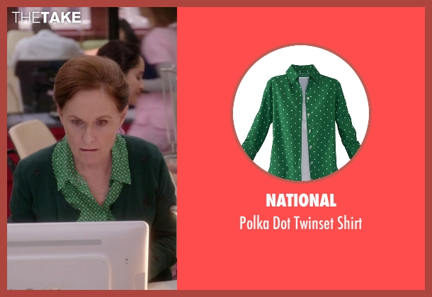 National green shirt from The Mindy Project seen with Beverly (Beth Grant)