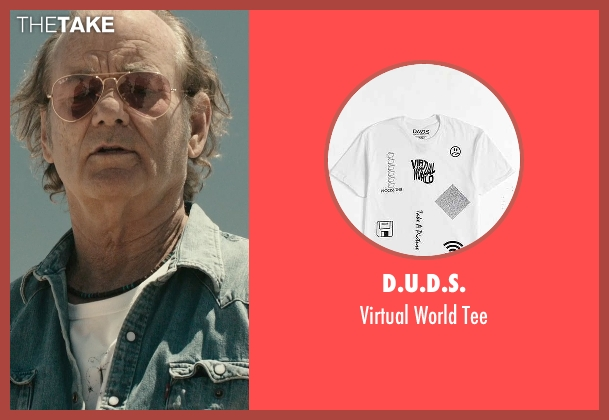 D.U.D.S. white world tee from Rock The Kasbah seen with Bill Murray (Richie Lanz)