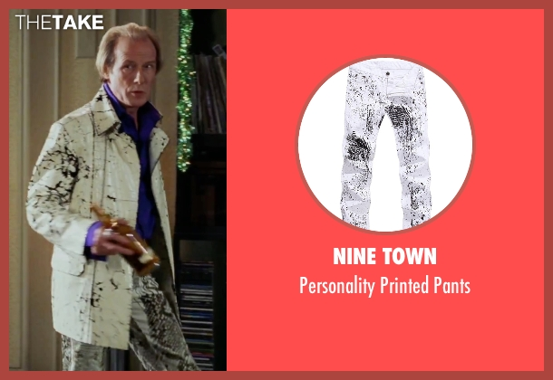 Nine Town white pants from Love Actually seen with Bill Nighy (Billy Mack)