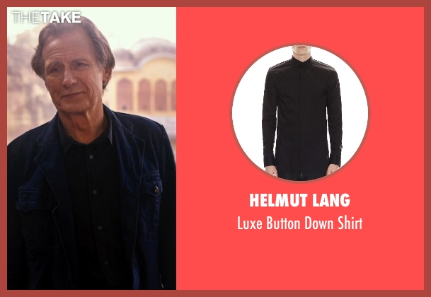 Helmut Lang black shirt from The Second Best Exotic Marigold Hotel seen with Bill Nighy (Douglas Ainslie)