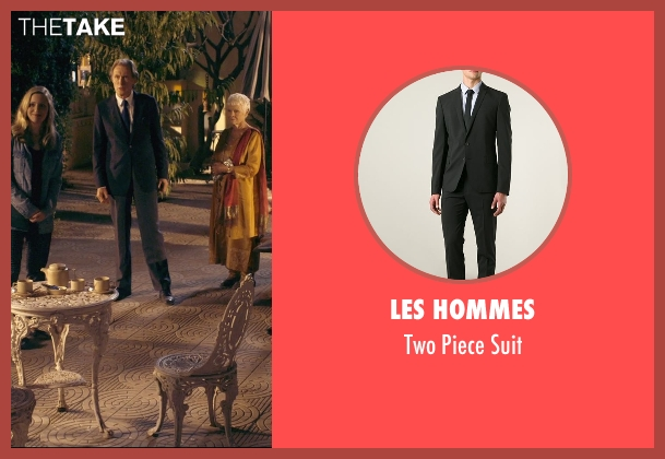 Les Hommes black suit from The Second Best Exotic Marigold Hotel seen with Bill Nighy (Douglas Ainslie)