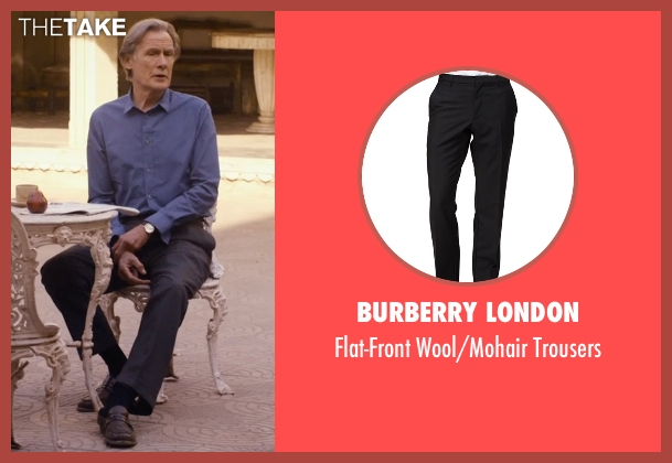 Burberry London black trousers from The Second Best Exotic Marigold Hotel seen with Bill Nighy (Douglas Ainslie)