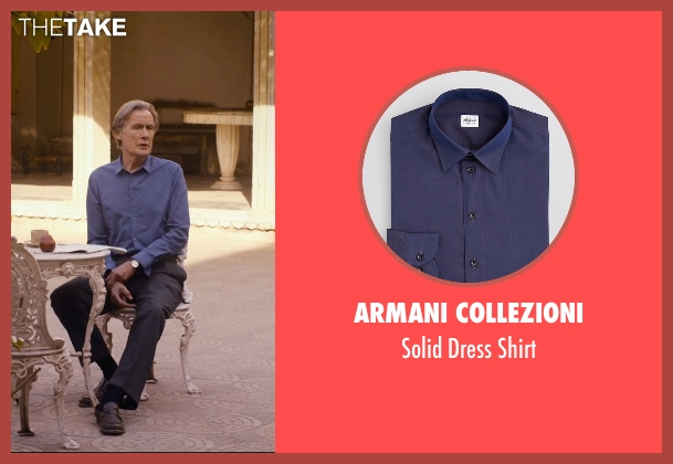 Armani Collezioni blue shirt from The Second Best Exotic Marigold Hotel seen with Bill Nighy (Douglas Ainslie)