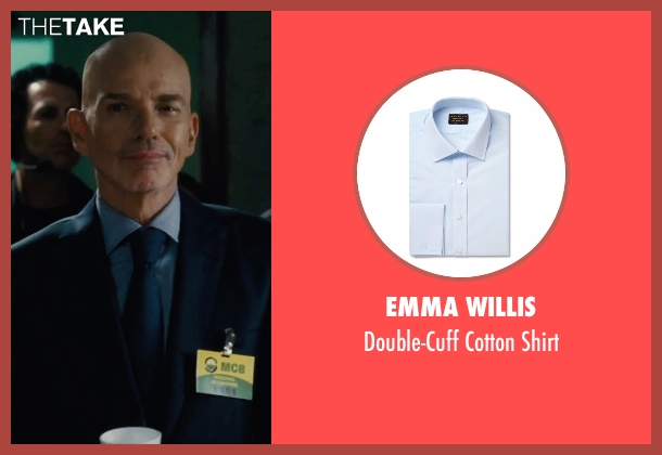 Emma Willis blue shirt from Our Brand Is Crisis seen with Billy Bob Thornton (Pat Candy)