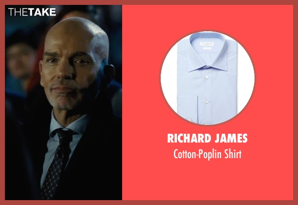 Richard James blue shirt from Our Brand Is Crisis seen with Billy Bob Thornton (Pat Candy)