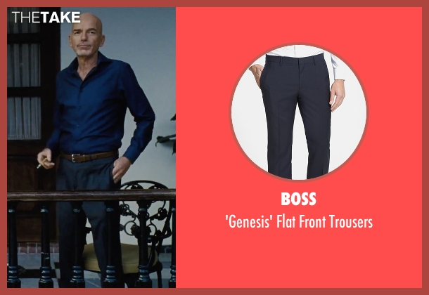 Boss blue trousers from Our Brand Is Crisis seen with Billy Bob Thornton (Pat Candy)