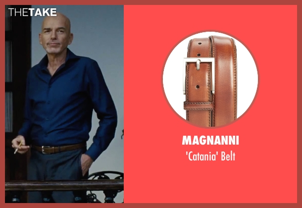 Magnanni brown belt from Our Brand Is Crisis seen with Billy Bob Thornton (Pat Candy)