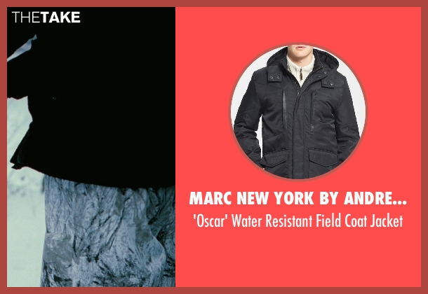 Marc New York by Andrew Marc black jacket from The American seen with Björn Granath (Hunter #2)