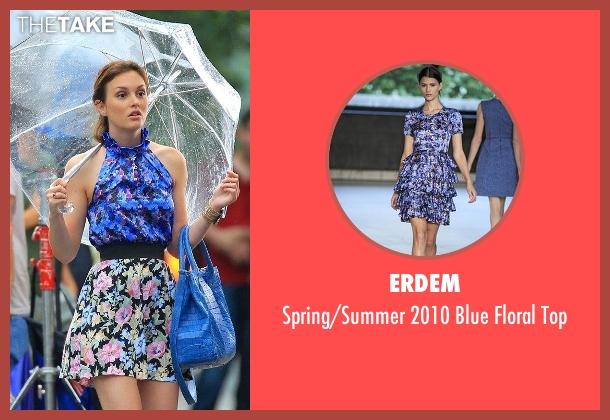Erdem blue top from Gossip Girl seen with Blair Waldorf (Leighton Meester)