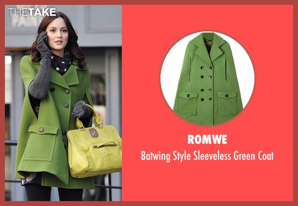 Romwe green coat from Gossip Girl seen with Blair Waldorf (Leighton Meester)