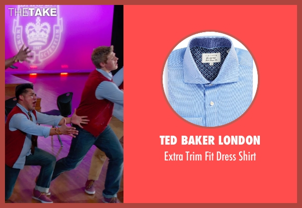 Ted Baker London blue shirt from Pitch Perfect 2 seen with Blake Burt (Treblemaker 4)