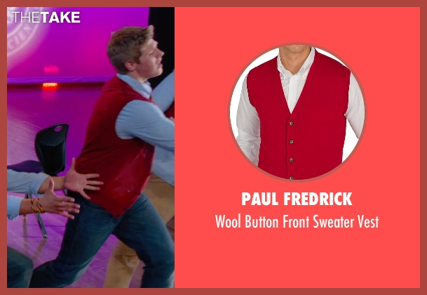 Paul Fredrick red vest from Pitch Perfect 2 seen with Blake Burt (Treblemaker 4)