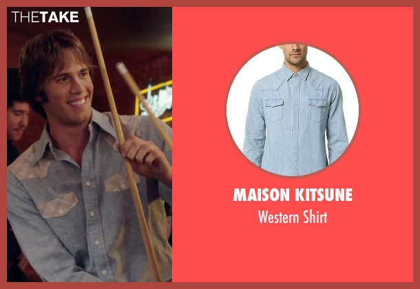 Maison Kitsune blue shirt from Everybody Wants Some seen with Blake Jenner (Jake)