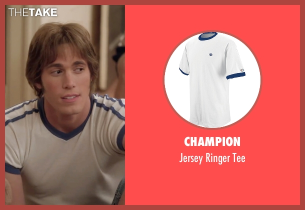 Champion white tee from Everybody Wants Some seen with Blake Jenner (Jake)