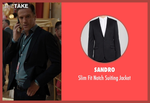 Sandro black jacket from Billions seen with Bobby Axelrod (Damian Lewis)