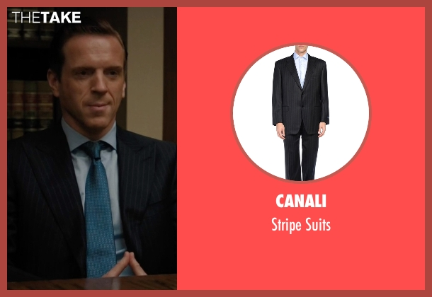 Canali black suits from Billions seen with Bobby Axelrod (Damian Lewis)