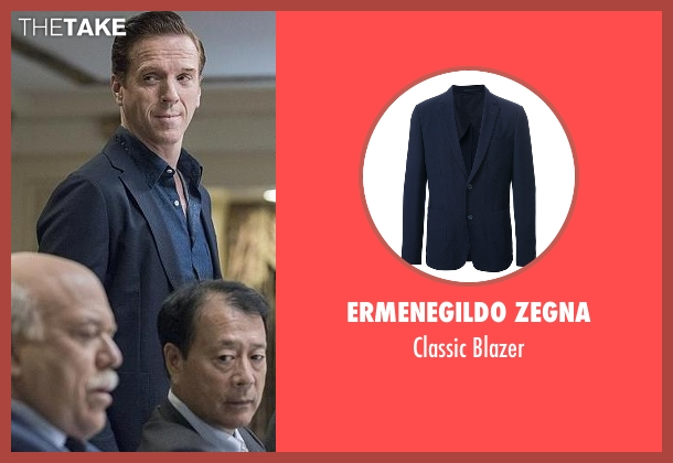 Ermenegildo Zegna blue blazer from Billions seen with Bobby Axelrod (Damian Lewis)