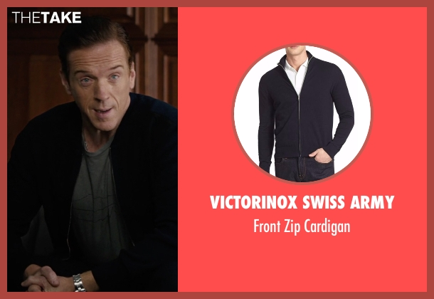Victorinox Swiss Army blue cardigan from Billions seen with Bobby Axelrod (Damian Lewis)