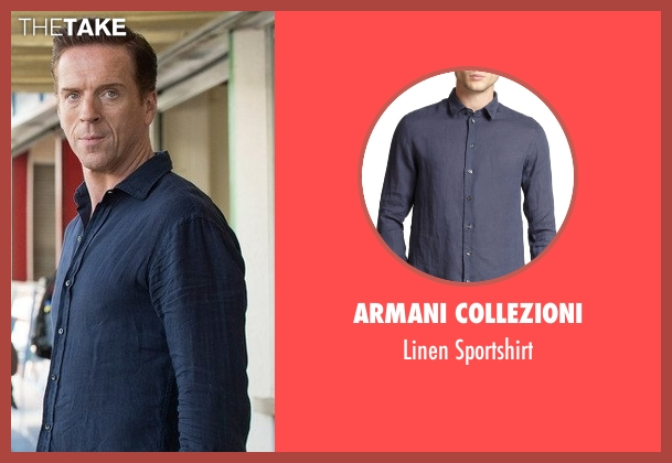 Armani Collezioni blue sportshirt from Billions seen with Bobby Axelrod (Damian Lewis)