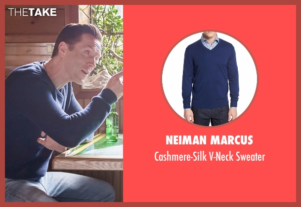 Neiman Marcus blue sweater from Billions seen with Bobby Axelrod (Damian Lewis)