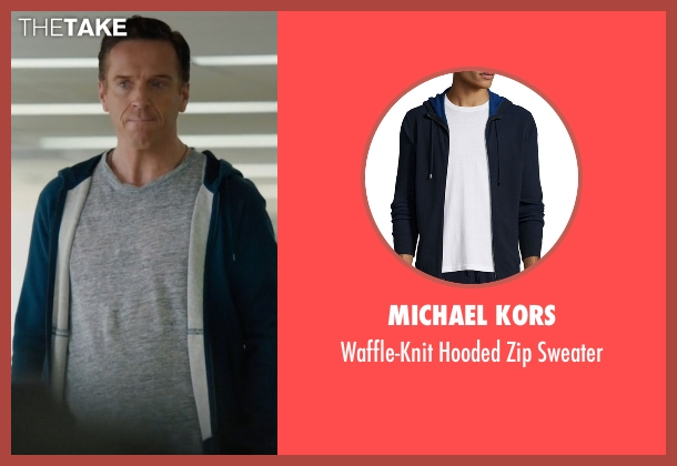Michael Kors blue sweater from Billions seen with Bobby Axelrod (Damian Lewis)