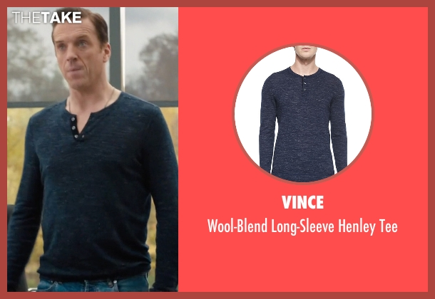 Vince blue tee from Billions seen with Bobby Axelrod (Damian Lewis)