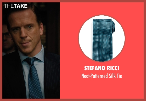 Stefano Ricci blue tie from Billions seen with Bobby Axelrod (Damian Lewis)