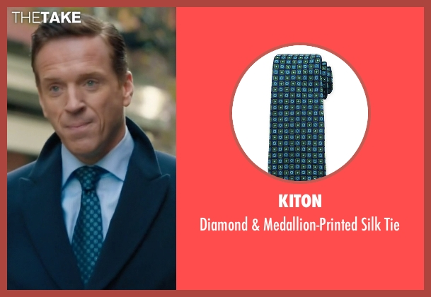Kiton blue tie from Billions seen with Bobby Axelrod (Damian Lewis)