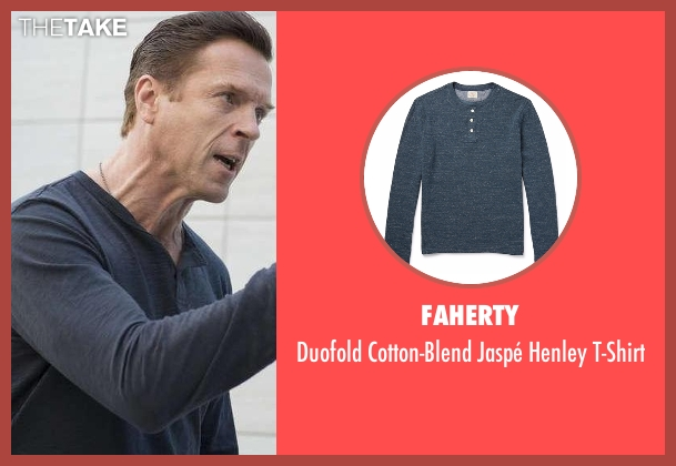 Faherty blue t-shirt from Billions seen with Bobby Axelrod (Damian Lewis)