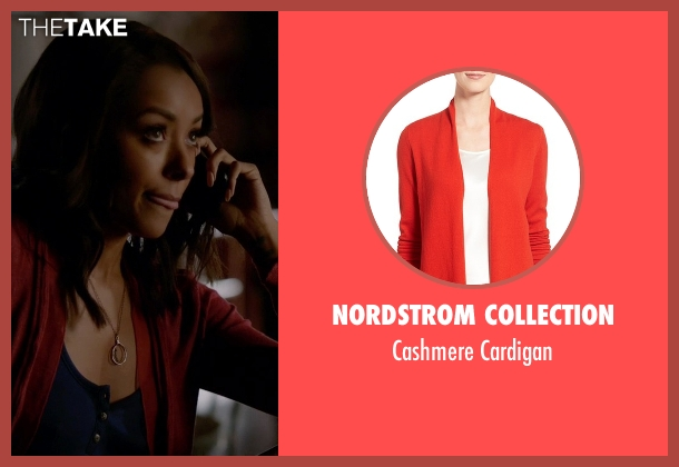 Nordstrom Collection red cardigan from The Vampire Diaries seen with Bonnie Bennett (Kat Graham)
