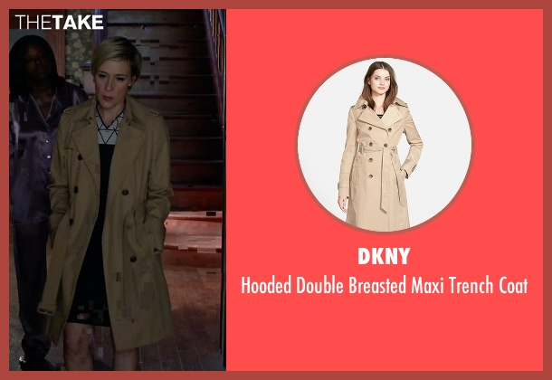 DKNY beige coat from How To Get Away With Murder seen with Bonnie Winterbottom (Liza Weil)