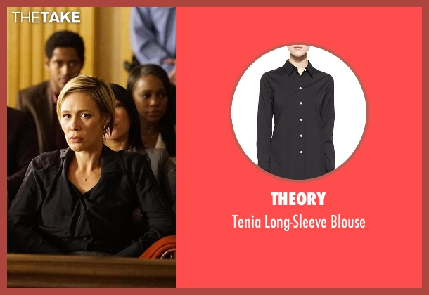 Theory black blouse from How To Get Away With Murder seen with Bonnie Winterbottom (Liza Weil)