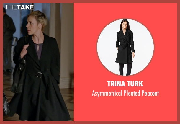 Trina Turk black peacoat from How To Get Away With Murder seen with Bonnie Winterbottom (Liza Weil)