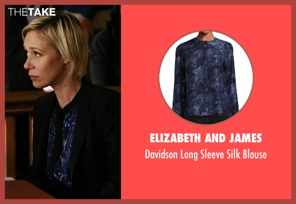 Elizabeth And James blue blouse from How To Get Away With Murder seen with Bonnie Winterbottom (Liza Weil)